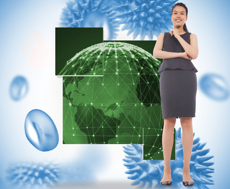 Thoughtful businesswoman against blue virus cells photo