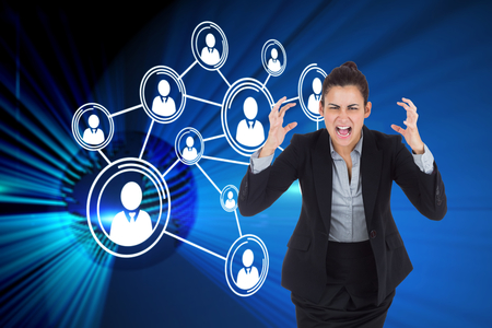Angry businesswoman gesturing against digital earth background photo