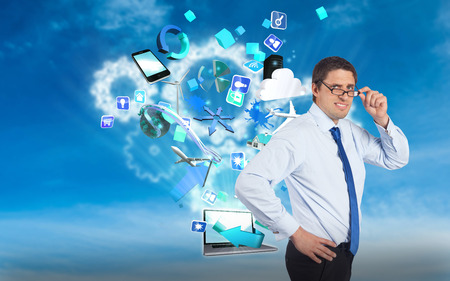 business skeptical: Thinking businessman tilting glasses against white cogs in the sky