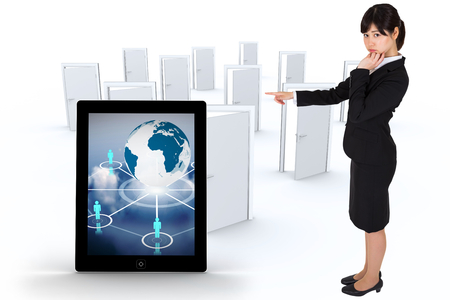 many doors: Businesswoman pointing against many doors opening Stock Photo