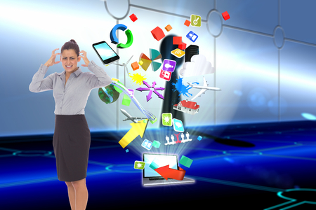 light brown hair: Frustrated businesswoman shouting against keyhole on technological background Stock Photo