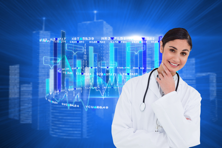 thinkers: Smiling female doctor in thinkers pose against futuristic shiny cityscape Stock Photo