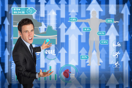 Stressed businessman gesturing against futuristic arrow pointing upwards photo
