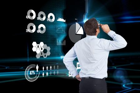 tilting: Thinking businessman tilting glasses against doorway on technological black background