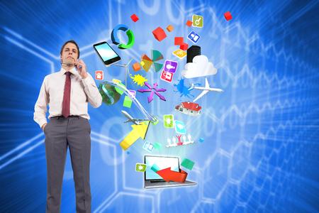 Thinking businessman holding glasses against background with shiny hexagons photo
