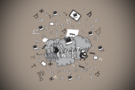 Tweet doodles against grey background with vignette Stock Photo - 26863150