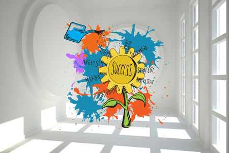 Success concept on paint splashes against white room with circles at wall photo