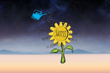 Success sunflower doodle against serene landscape photo