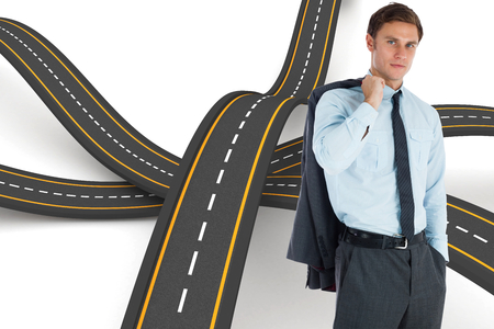 bumpy road: Serious businessman holding his jacket against bumpy road background