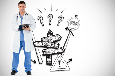 Doctor with a clipboard against directions illustration illustration