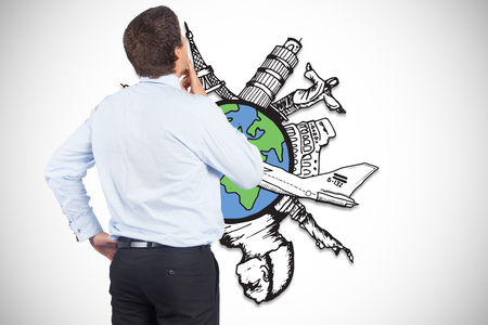 Thinking businessman touching his chin against global tourism illustration illustration