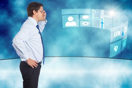 tilting: Thinking businessman tilting glasses against application interface