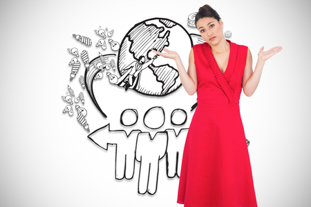 Hesitant elegant brunette in red dress posing against global community illustration illustration