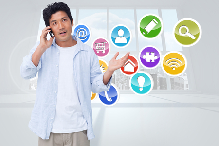 clueless: Clueless male on his cellphone against computing application icons