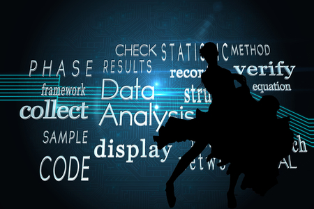 Composite image of computing buzzwords on black background photo