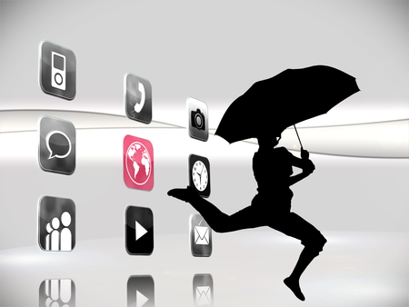 Composite image of futuristic app icons on white background photo
