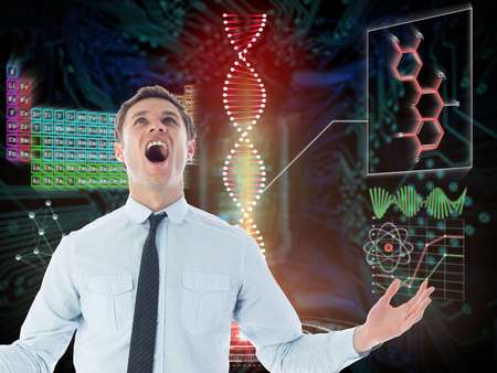 light brown hair: Shouting businessman against shiny key on black circuit board background Stock Photo