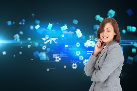 woman looking down: Happy businesswoman against futuristic screen with quaders