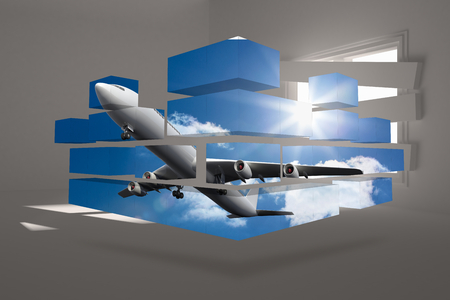 bordered: Airplane on abstract screen against digitally generated room with bordered up window Stock Photo