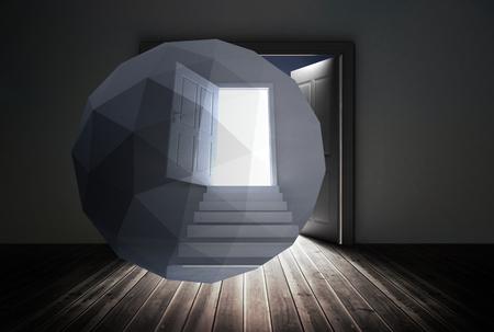 Open door on abstract screen against open doors in dark room photo