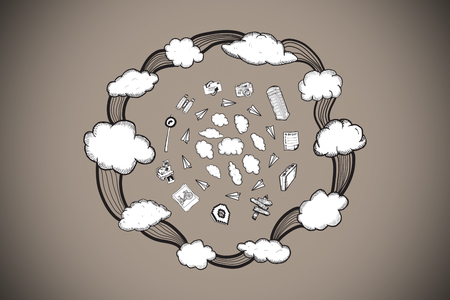 Cloud computing doodles against grey background with vignette photo