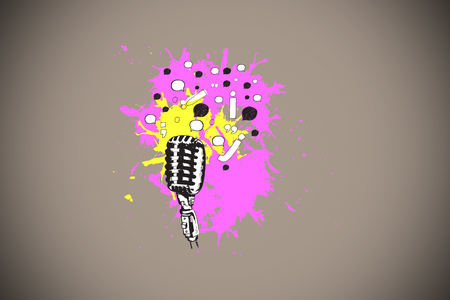 oration: Microphone on paint splashes against grey background with vignette