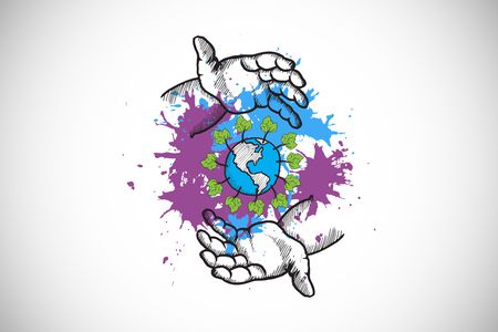 environmentalism: Environmentalism concept on paint splashes against white background with vignette Stock Photo