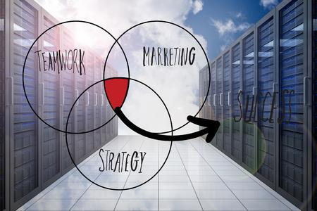 venn: Success venn diagram  against server hallway in the sky
