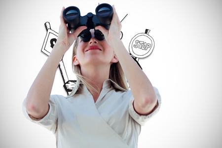 Businesswoman looking through binoculars against directions illustration illustration