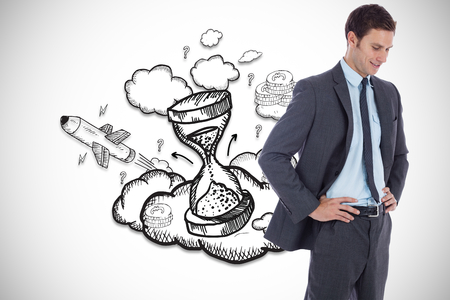 Smiling businessman with hands on hips against hourglass illustration illustration
