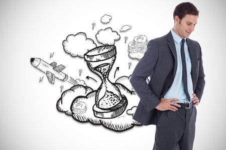 Smiling businessman with hands on hips against hourglass illustration illustration