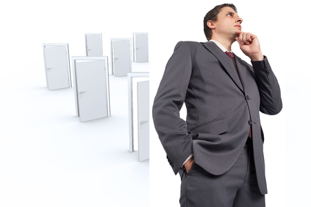 many doors: Thoughtful businessman with hand on chin against many doors opening