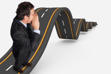 bumpy: Shouting businessman against bumpy road background Stock Photo