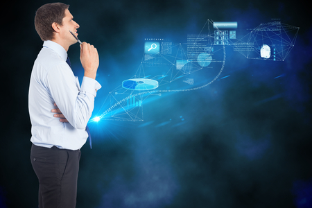 business skeptical: Thinking businessman holding pen against data and graphs background