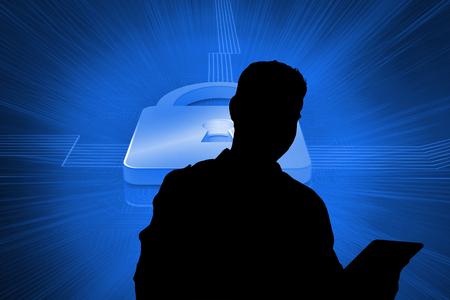 lock  futuristic: Immagine composita di blocco su futuristico sfondo blu