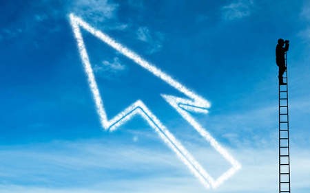 Composite image of white arrow in the sky Stock Photo