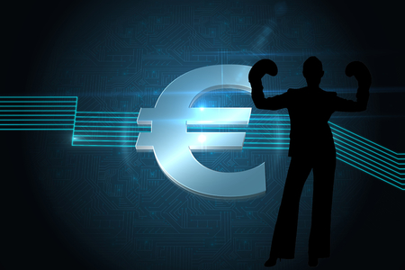 black empowerment: Composite image of euro sign on technical background