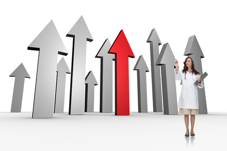 Smiling doctor pointing against red and grey arrows pointing up Stock Photo - 28376797