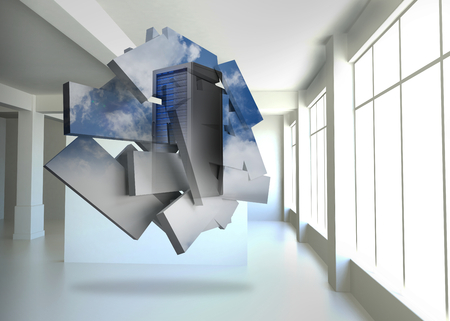 data storage: Server tower on abstract screen against white room with screen Stock Photo