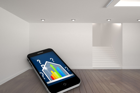 ber: Ber rating house on smartphone screen against digitally generated room with stairs Stock Photo