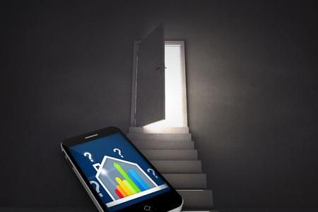 ber: Ber rating house on smartphone screen against steps leading to door showing light