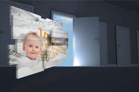 Genius baby on abstract screen against door opening in dark room to show sky  photo