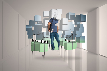 incidental people: Light bulb student on abstract screen against tiny figures in bright room