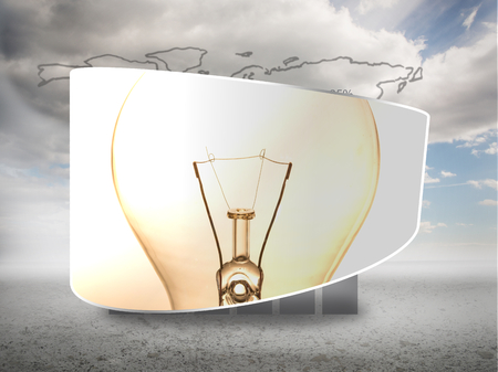 Lightbulb on abstract screen against global statistic on sky background photo