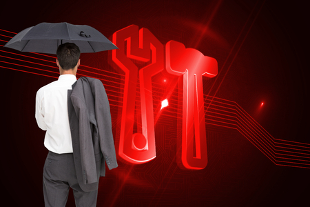 Composite image of businessman standing back to camera holding umbrella and jacket on shoulder against white background photo