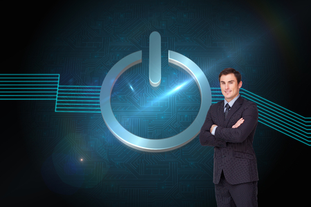 light brown hair: Composite image of young attractive businessman standing cross-armed