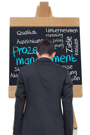 Composite image of process management written on blackboard in german against white background photo