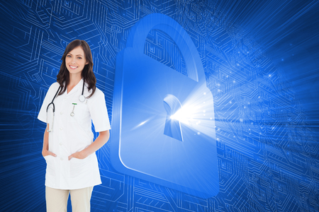lock  futuristic: Composite image of confident female doctor standing in front of the window while smiling Stock Photo