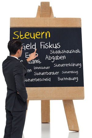 finanzen: Composite image of asian businessman pointing
