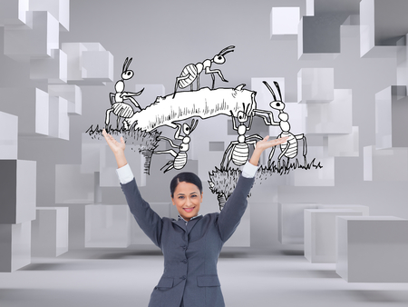 Composite image of cheering businesswoman against a white background photo